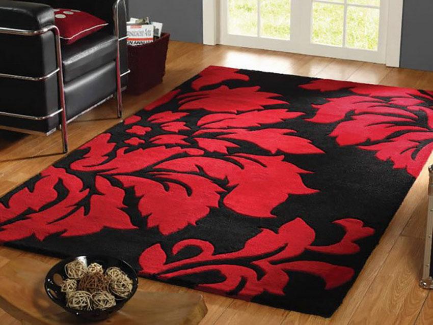 Thảm phòng khách hoa đỏ