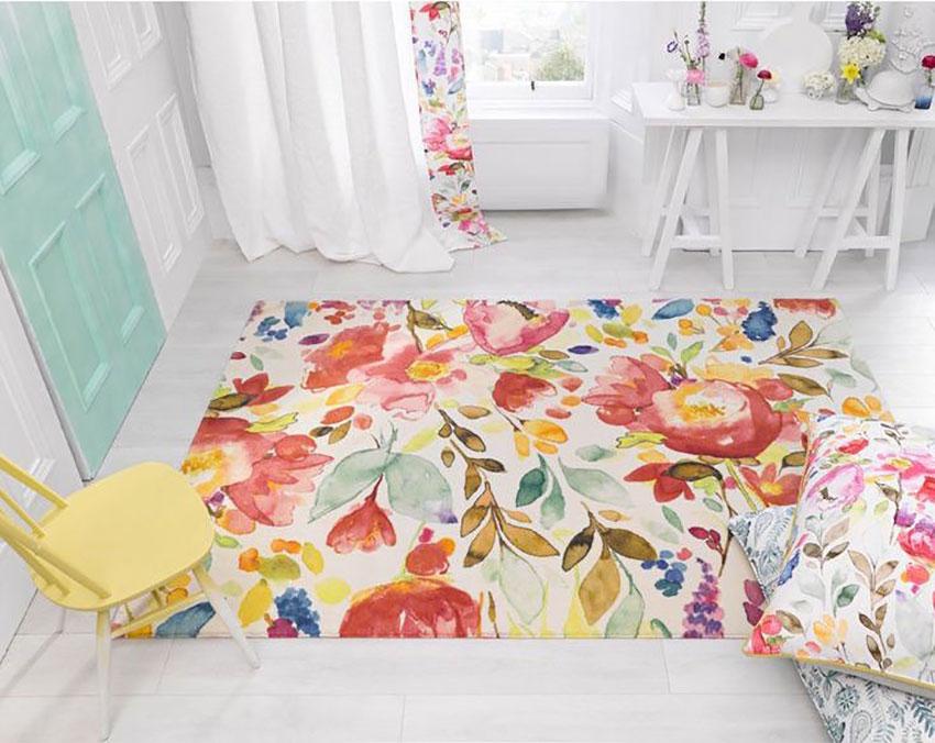 Thảm phòng khách hoa và lá