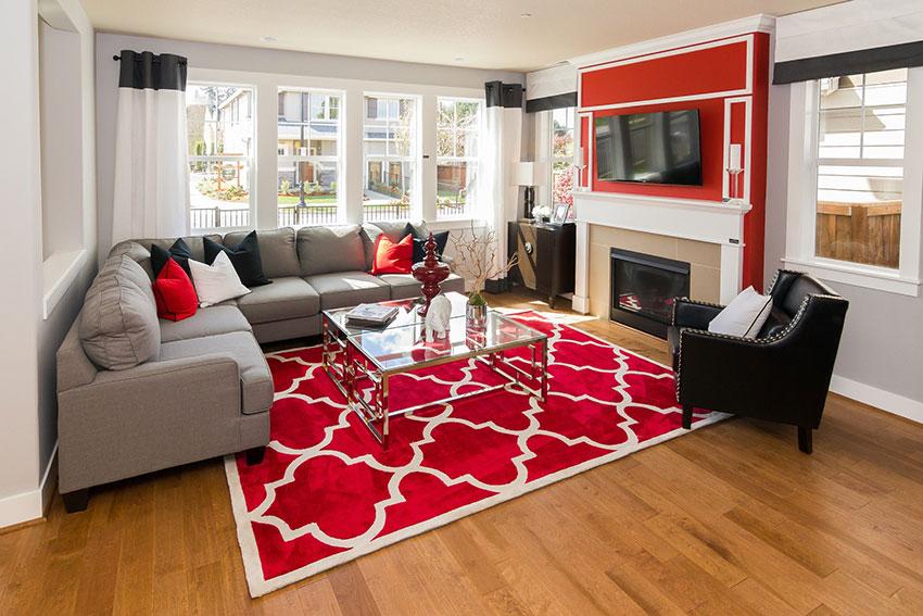 Thảm phòng khách hoa văn màu đỏ