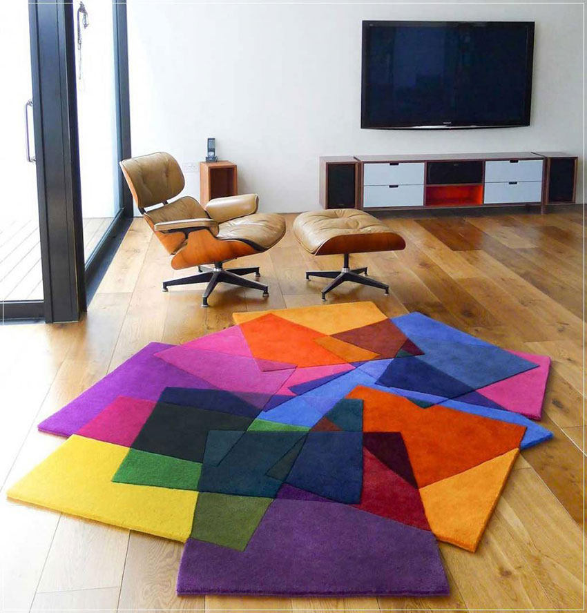 Thảm phòng khách nhiều màu sắc