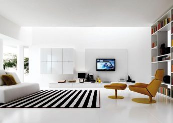 Thảm sofa phòng khách đen trắng